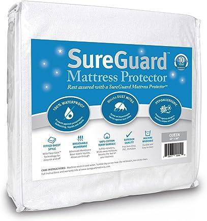 SureGuard Mattress Protectors Queen Size - 100% Waterproof, Hypoallergenic - Premium Fitted Cotton Terry Cover - 10 Year Warranty