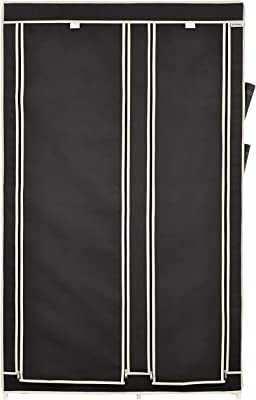 Amazon Brand - Solimo 2-Door Foldable Wardrobe, 8 Racks, Black