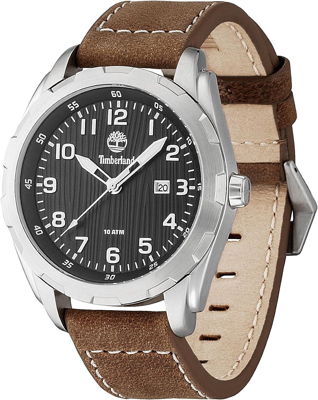Timberland TBL.13330XS/02 - Reloj analógico de Cuarzo para Hombre con Correa de Piel, Color marrón