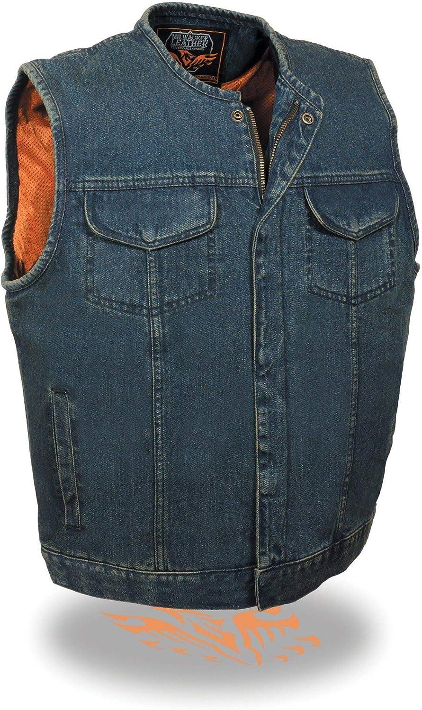 Milwaukee Leather MDM3001 Men's Collarless Black Denim Club Vest with Hidden Zipper