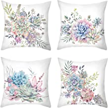 WOMHOPE Floral Succulent Plants Decorative Throw Pillow Covers Cushion Pillow Cases Flannelette Toss Spring Summer 18 x 18 Inch for Living Room,Couch and Bed (Succulent Plants)