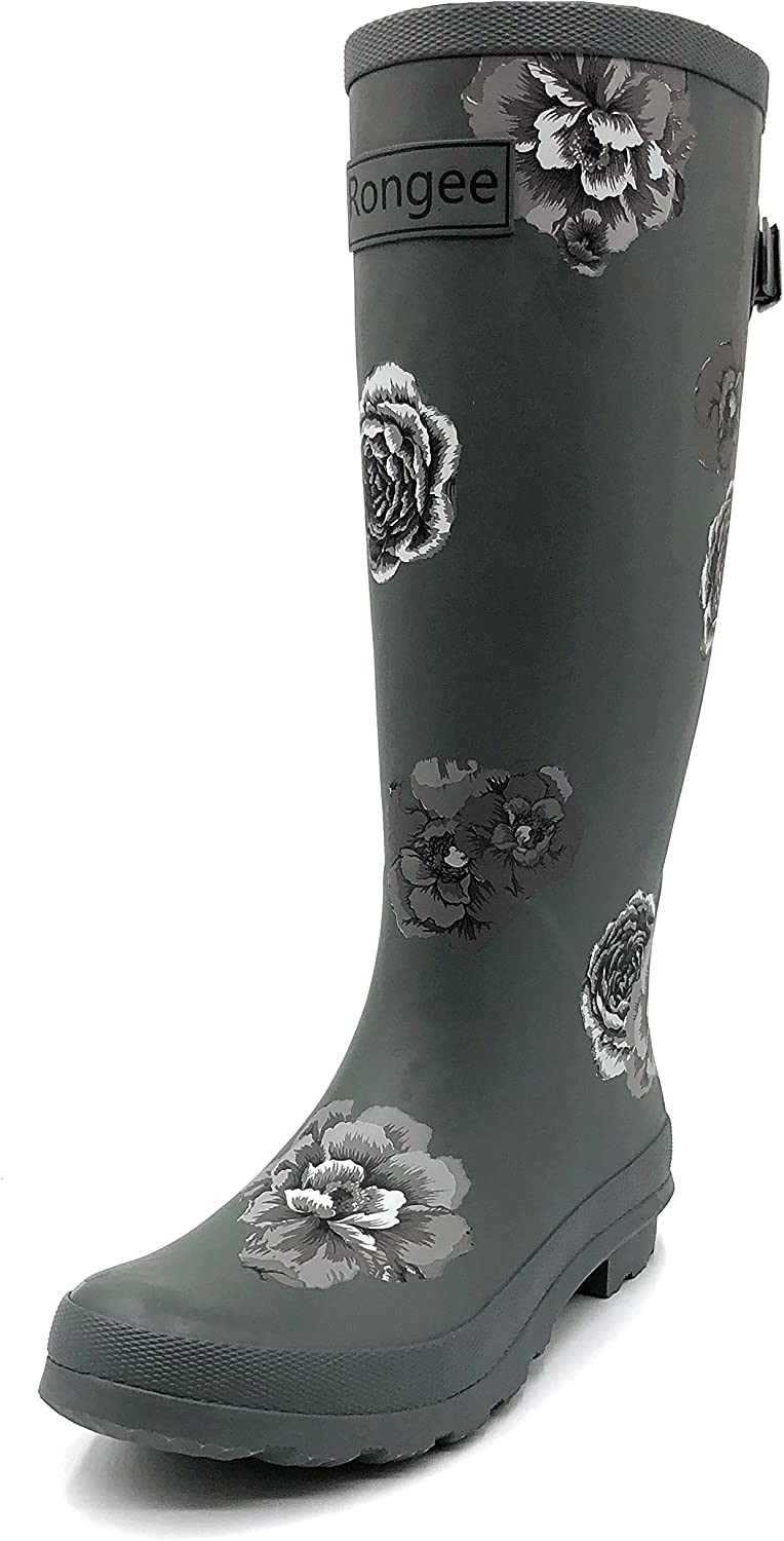 Rongee pink Printed Tall Rubber Rain Boots for Women with Adjustable Gusset and Oxford Bag Packed