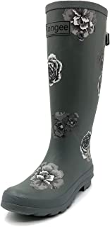 Rongee Women's Rubber Rain Boots Rainboots Women Ladies Printed with Adjustable Gusset Oxford Bag Packed