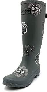 Rongee Women's Rubber Rain Boots Rainboots Women Ladies with Adjustable Gusset Oxford Bag Packed