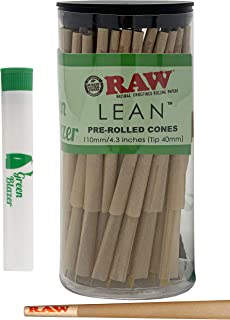 RAW Pre Rolled Cones Lean: 100 Pack - Lean Size Rolling Papers with Filter Tips - All Natural Slow Burning RAW Cone - Includes Green Blazer Doob Tube