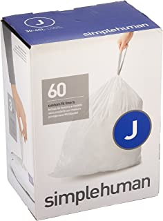 simplehuman Code J Custom Fit Trash Can Liner, 3 Refill Packs (60 Count), 30-45 Liter / 8-12 Gallon
