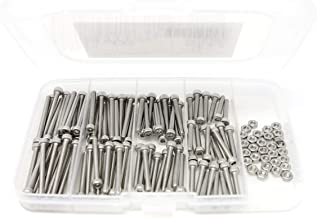 iExcell 125 Pcs M3 x 20mm/25mm/30mm/35mm Stainless Steel 304 Hex Socket Head Cap Screws and Nuts Kit