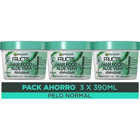 Garnier Fructis Hair Food Mascarilla 3 en 1 Aloe Vera Hidratante, indicada para Pelo Normal - Pack de 3 x 390 ml