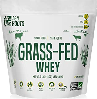 AGN Roots Grassfed Whey Protein | Cold Processed | GMO, Soy, Gluten Free | No rBST No rBGH | Unflavored | Informed Choice & Informed Sport Certified | Sustainably Farmed | Certified by A Greener World