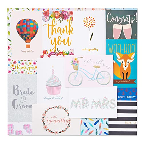 48 Greeting Cards Assortment Bulk Box, 48 Unique Designs for All Occasions, Thank You, Birthday, Wedding, Anniversary, Matte Finished, 4 x 6 Inches