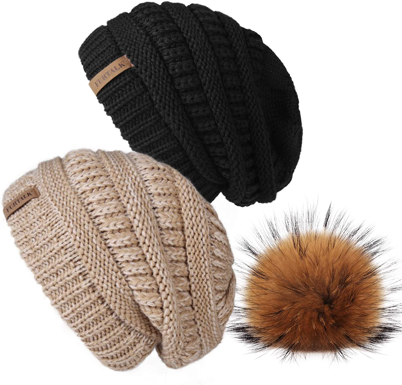FURTALK Winter Hats Beanie for Women Fleece Lined Slouchy Knit Skiing Cap Faux Fur Pom Pom Beanie Hat for Girls