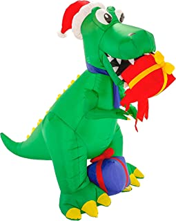 Christmas Masters 6 Foot Inflatable T-Rex Dinosaur with Santa Hat Eating Presents Gifts LED Lights Indoor Outdoor Yard Lawn Decoration - Cute Tyrannosaurus Fun Xmas Holiday Blow Up Party Home Display
