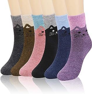 QKURT 6 pares de calcetines de lana para mujer, calcetines térmicos cálidos para mujer, calcetines de gato novedosos y bon...