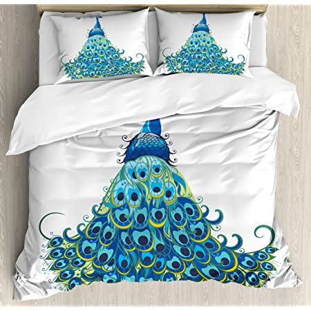 Ambesonne Peacock Duvet Cover Set, Peacock Illustration Floral Classical Curvy Design Tropics Wildlife Theme, Decorative 3 Piece Bedding Set with 2 Pillow Shams, King Size, Blue Yellow