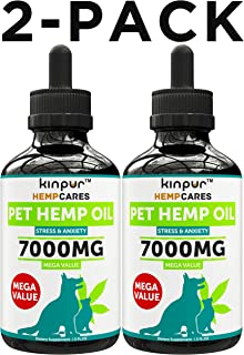 Kinpur (2 PACK   7000MG) Hemp Oil for Dogs & Cats - Anxiety Relief for Dogs & Cats - Pet Hemp Oil - Supports Hip & Joint Health - Made in USA - Natural Relief for Pain - Omega 3, 6 & 9