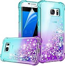 Galaxy S7 Edge Case, Galaxy S7 Edge Cases with HD Screen Protector for Girls Women, Gritup Cute Clear Gradient Glitter Liq...