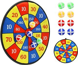 Kids Toys Dart Board Games - Dartboard Sports Games for kids with 8 Sticky Balls, Safe & Classice Set With Hook, Indoor Ou...