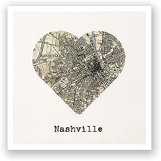ArtsyCanvas Nashville - City Map to My Heart - 12x12 Matte Poster Print Wall Art