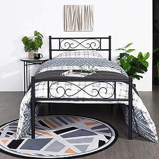 EGOONM Cadre de lit en métal - 3ft Cadre de lit en métal avec Les Nuages Motif, avec Grand Espace de Rangement et pour ou ...