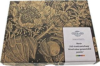 Bunte Chili Gewürzmischung Samen-Geschenkset mit 4 aromatische Chilisorten zur Herstellung von Chilipulver gelb, schwarz, weiß, rot
