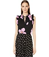 Kate Spade New York - Grand Flora Tie Neck Shell
