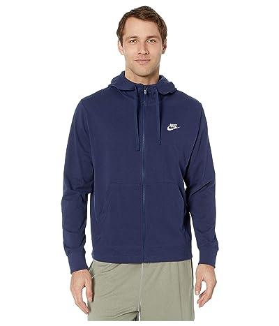 Nike NSW Club Hoodie Full Zip Jersey (Midnight Navy/White) Men