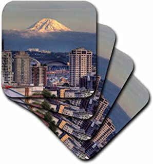 3dRose CST_96389_1 WA, Seattle, Mount Rainier from Kerry Park US48 JWI3558 Jamie & Judy Wild Soft Coasters (Set of 4)