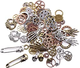 BIHRTC 140 Gram (Approx 92pcs) DIY Assorted Color Antique Metal Steampunk Watch Gear Cog Wheel Skull Musical Note Skull Ha...