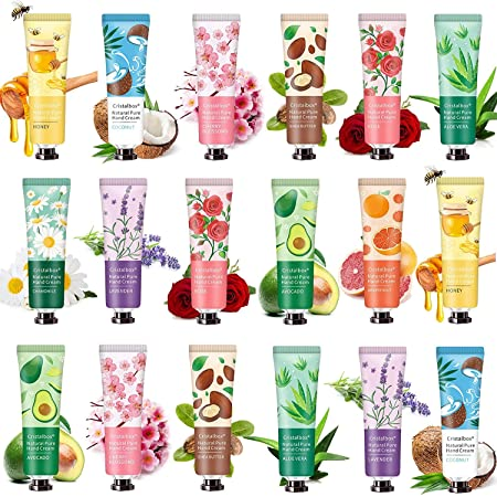 18 Pack Hand Cream for Dry Cracked Hands,Working Hands,2021 Plant Fragrance Hand Cream, Moisturizing Hand Care Cream Travel Gift Set With Natural Aloe And Vitamin E For Men And Women