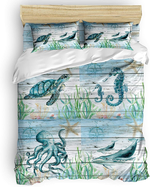 Sea Marine Animal 4 trend rank Pieces Sets wit Cover Duvet El Paso Mall Comforter