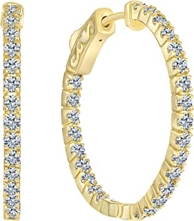 Beverly Hills Jewelers 1.00 Carat T.w. Beautiful Inside-Out Hoop Earring Top Shine, Real Natural G-H color White Diamond, 14k Yellow Gold, with Super Secure lock.US Patent # 7,878,024B2 lock