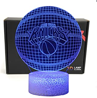 LED NBA Team 3D Optical Illusion Smart 7 Colors Night Light Table Lamp with USB Power Cable (Knicks)
