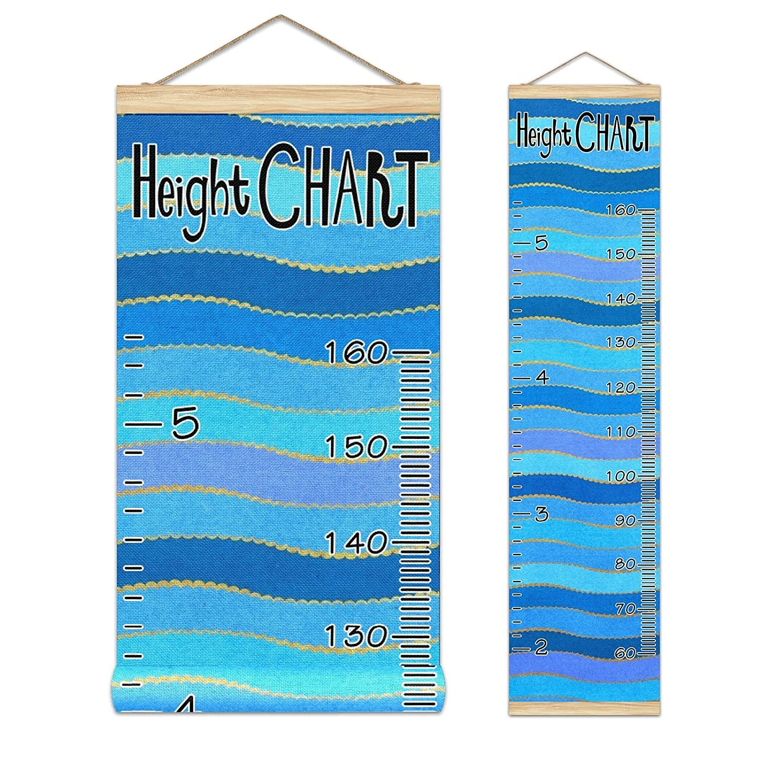 Kids Growth Chart Sea Ocean Wave Wood Frame Pattern Blue Striped Max 76% OFF Ranking TOP7
