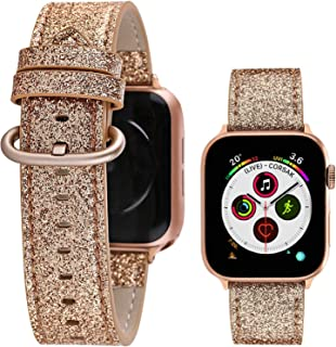 Greaciary Glitter Leather Band Compatible with Apple Watch Band 42mm,44mm,Shiny Bling Elegant Genuine Leather Strap Compatible for iWatch Series 5/4/3/2/1,Sport Edition Women Girl Rose Gold