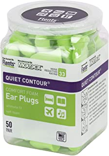 Flents Quiet Contour Ear Plugs/Earplugs | 50 Pair | NRR 33 | Made in The USA