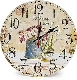 LOHAS Home 12 Inch Silent Vintage Design Wooden Round Wall Clock Arabic Numerals Design Rustic Country Style Wooden Decor Round Wall Clock(Cafe & Flower)