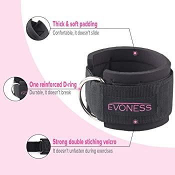 EVONESS Ankle Straps for Cable Machines and Resistance Band Plus Carry Bag– Premium Fitness Ankle Straps Attachment f...