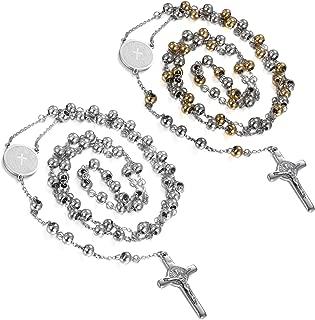 Flongo Men's Women's Vintage Stainless Steel Jesus Christ Crucifix Cross Rosary Beads Pendant Necklace,29 inch Chain
