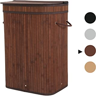 Sophia and William Laundry Hamper 72L Dirty Clothes Bamboo Storage Basket with Lid Liner and Handles Rectangular Dark Brown
