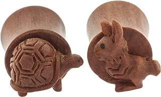 Pair of Sabo Wood Tortoise & Hare Plugs