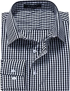XI PENG Men's Slim Fit Plaid Checkered Gingham Long Sleeve Dress Shirts