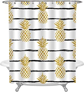 MitoVilla Gold Pineapple on Black Striped Shower Curtain for Modern Stylish Bathroom, Minimalist Horizontal Lines Background, Exotic Nature Plant Glitter Fruit Living Room Decor, XX-Large Size 72 x 96