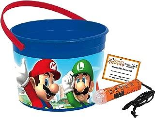 Super Mario Toddler Sized Halloween Trick or Treat Bucket & Mini Safety Flashlight! Plus