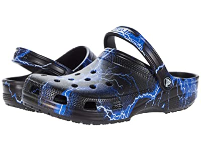 Crocs Classic Clog Seasonal Graphic (Black/White) Clog Shoes