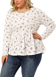 Agnes Orinda Plus Size Peplum Top for Women Long Sleeve Cute Ruffle Empire Waist Floral Tops