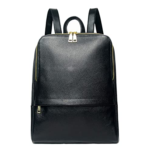 16eb6e1d84 Coolcy Hot Style Women Real Genuine Leather Backpack Fashion Bag (Black)