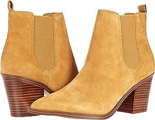 Nine West حذاء Wyllis للكاحل للنساء ، جلد سويدي أصفر مسطردة ، 7