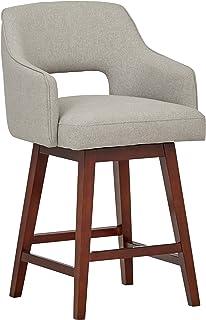 "Amazon Brand – Rivet Malida Mid-Century Modern Open Back Swivel Kitchen Counter Height Stool, 37""H, Felt Grey"