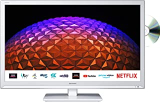 Sharp 1T-C24BE0KR1FW (24BE0KW) 24 Inch HD Ready LED Smart TV with Freeview Play, Built-in DVD Player, 2 x HDMI, SCART, USB...