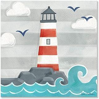 Oopsy daisy Let's Set Sail - Lighthouse Canvas Wall Art, 14x14, Blue